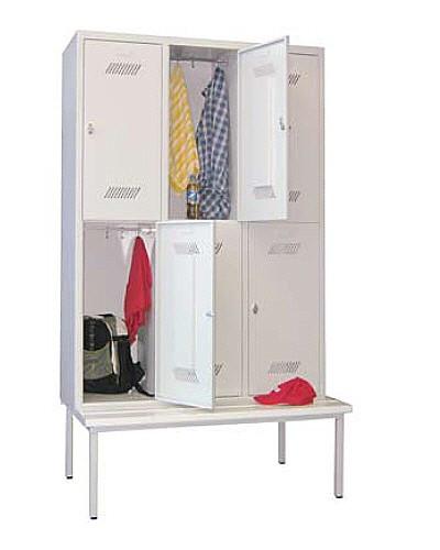 Garderobenschrank 3-tlg. = 6 Fächer, mit untergebauter Sitzbank