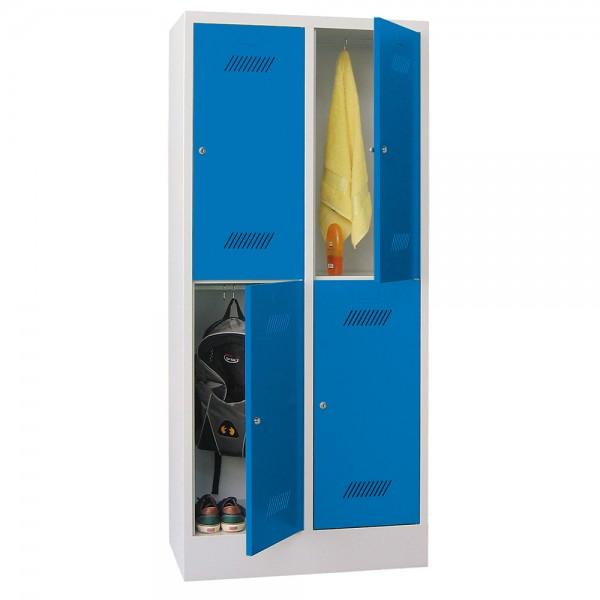 Garderobenschrank 2-tlg. = 4 Fächer, 10 cm hoher Sockel
