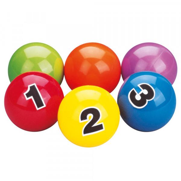 6 durchnummerierte Jonglierbälle