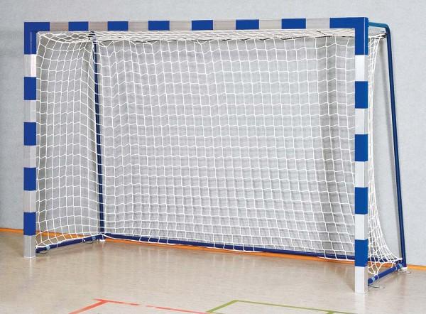Handballtor Robust mit anklappbaren Torbügeln und Verbindungsstange