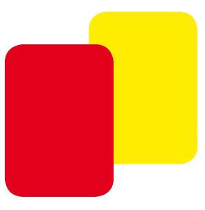 Schiedsrichterkarten, gelb oder rot