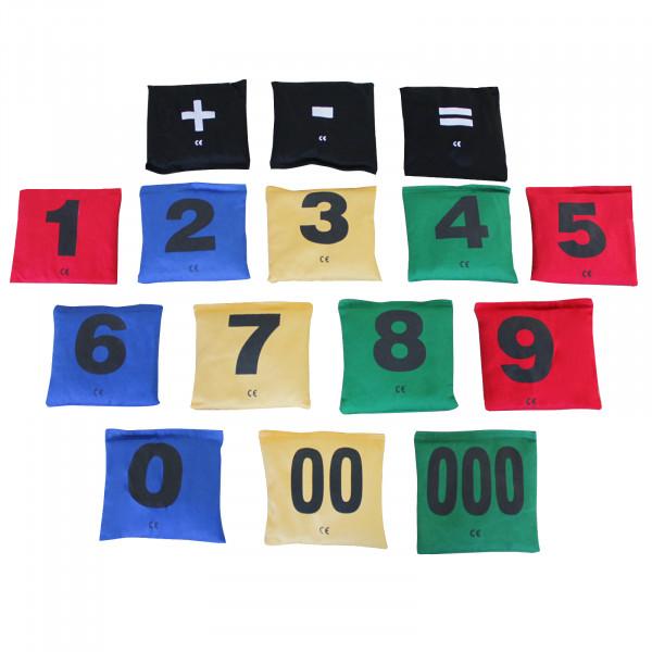 Bohnensäckchen-Set mit Zahlen