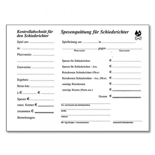 Schiedsrichter-Quittungsblock mit Kontrollabschnitt