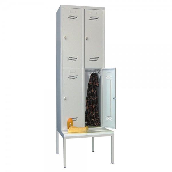 Garderobenschrank 2-tlg. = 4 Fächer, mit untergebauter Sitzbank
